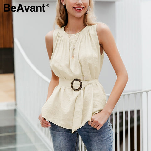 BeAvant High Waist Belt Tie Tank Top - Joy's Beauty Store