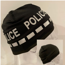 "Load image into Gallery viewer, The Police Beanie- Neon ""POLICE"" BLACK TEXT"