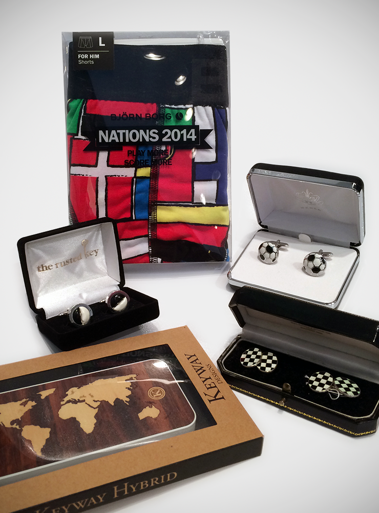 Björn Borg 'Flag' Briefs; Soccer Themed Cufflinks; Keyway Designs 'Atlas' iPhone case