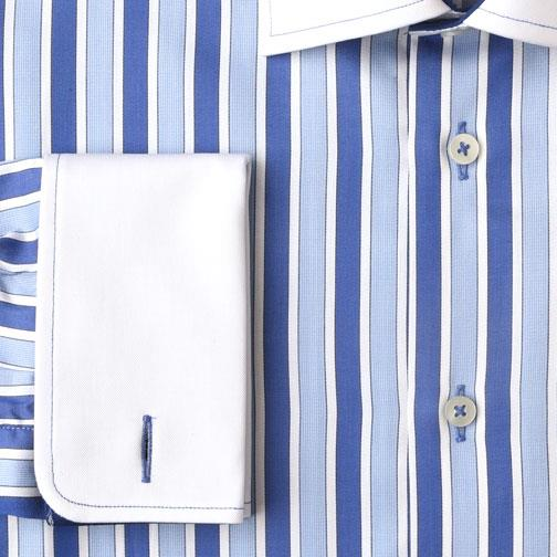 H. Halpern Esq. 'Bold Blue Stripes' Dress Shirt cuff
