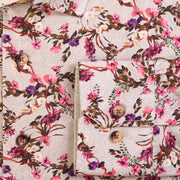 H. Halpern Esq. 'Fuschia Floral on Tan' Shirt cuff