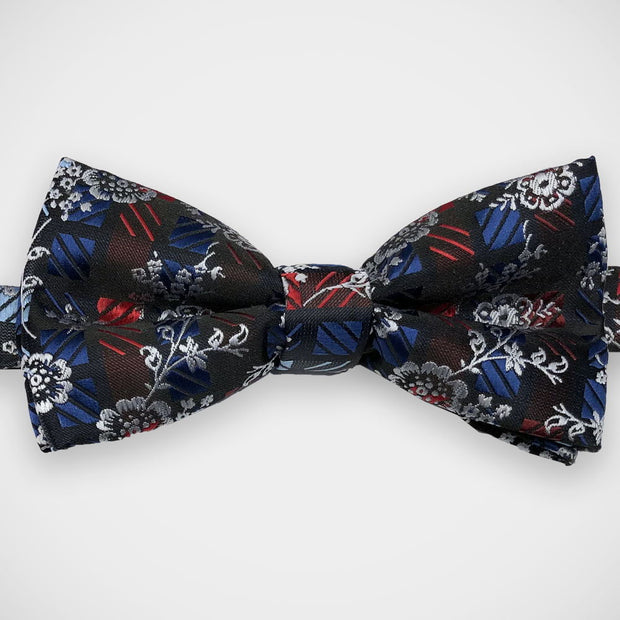 'Silver Floral on Blue & Red' Pre-Tied Bow Tie