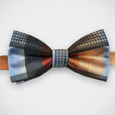 'Orange & Blue Graph Check' Pre-Tied Bow Tie