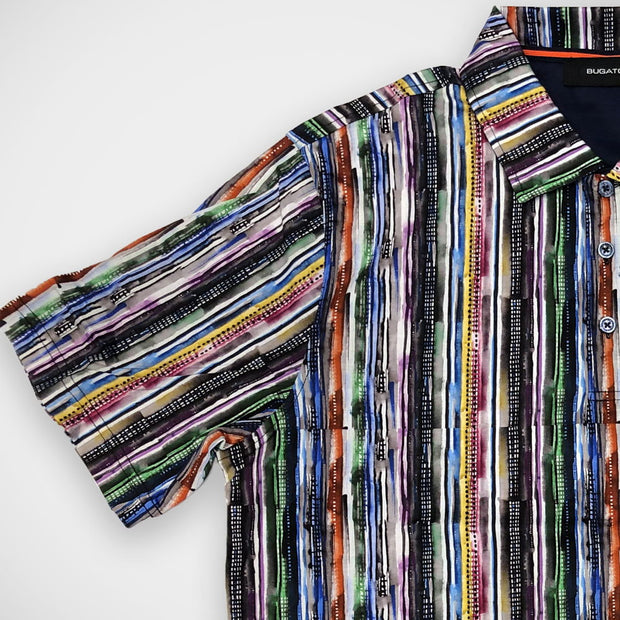'Abstract Stripe' Short Sleeved Knit Sport Shirt