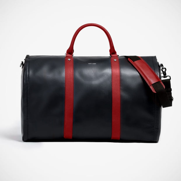 'Weekender - Black with Red' Leather Bag