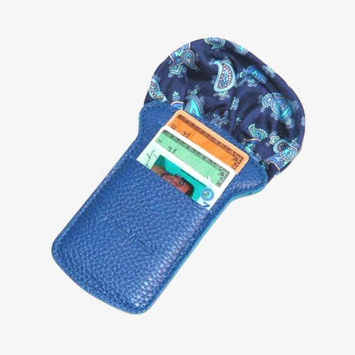 'Pocket Square & Card Holder-Blue' Wallet