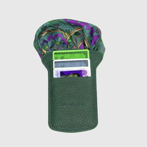 'Pocket Square & Card Holder-Green' Wallet
