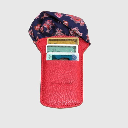 'Pocket Square & Card Holder-Red' Wallet