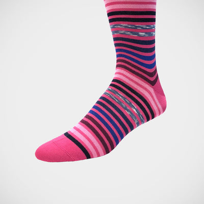 'Varied Stripes on Fuchsia' Socks
