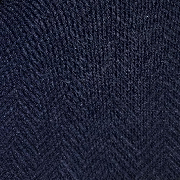 'Zip Mock Neck- Blue Herringbone' Sweater