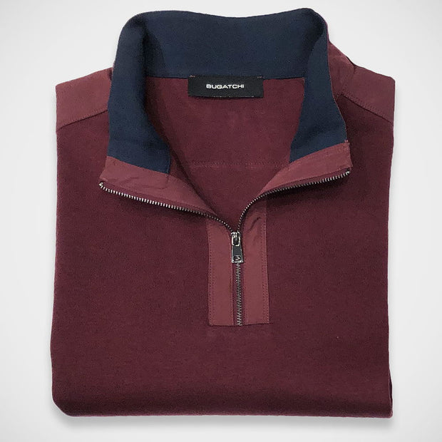 'Zip Mock Neck- Burgundy' Sweater