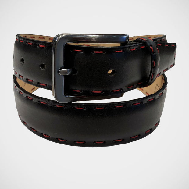 'Black with Red Stitching' Belt