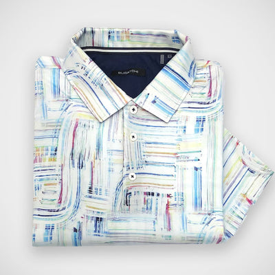 'Paint Strokes' Short Sleeved Knit Sport Shirt