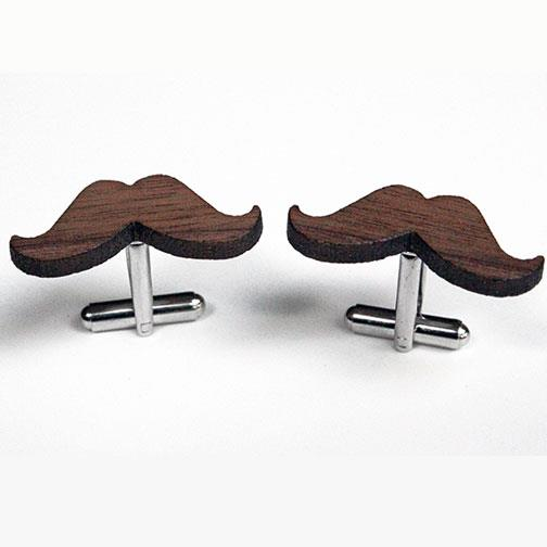 'Moustaches in Wood' Cufflinks