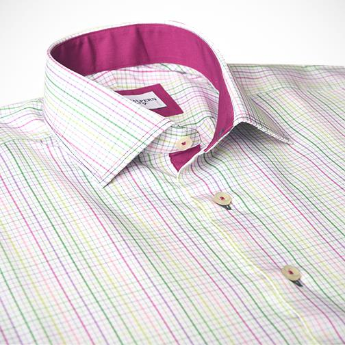 H. Halpern Esq. 'Spring Check' Dress Shirt collar