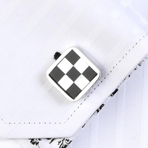 'Black & White Check' Cufflinks