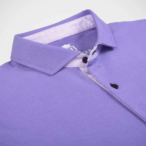 H. Halpern Esq. 'Oxford Pique Long Sleeve Knit - Purple' Sport Shirt