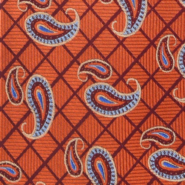 Robert Talbott 'Burnt Orange Grid with Paisley' Tie