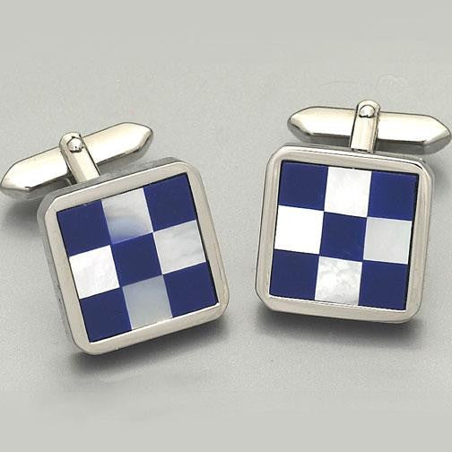 'Barrington Blue & White check' cufflinks 2