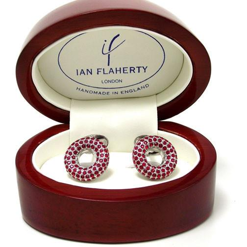 Ian Flaherty 'Red Crystal Ring' Cufflinks in the box