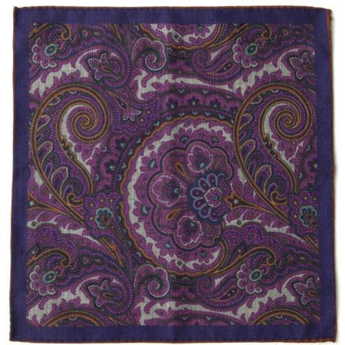 Dion 'Pink Paisley Wool' Pocket Square open