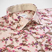 'Fuchsia Floral on Tan' Sport Shirt