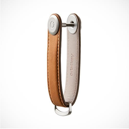 Orbitkey 'Leather-Tan with White stitching' Keyring