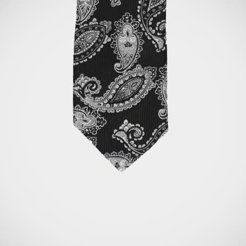 'Black with Silver Paisley' Tie