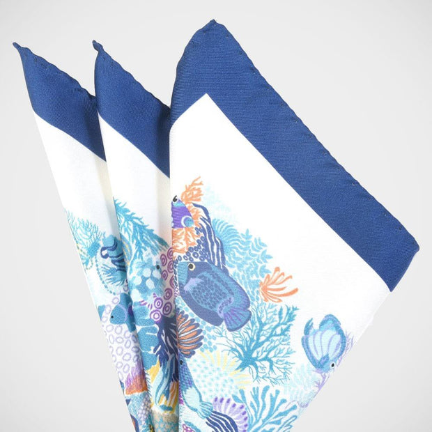 'Under the Sea - White' Pocket Square