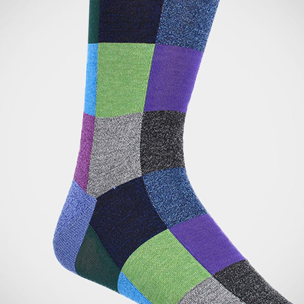 Dion 'Squares in Blue, Grey & Purple' Socks