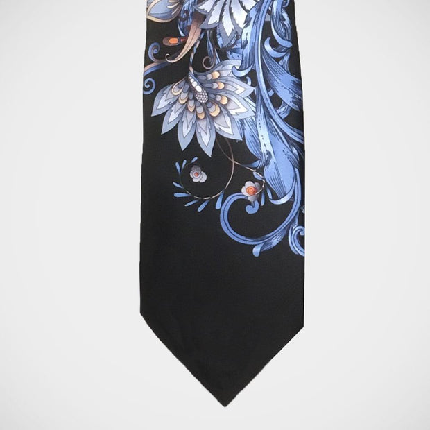 Vitaliano 'Light Blue Floral on Black' Tie