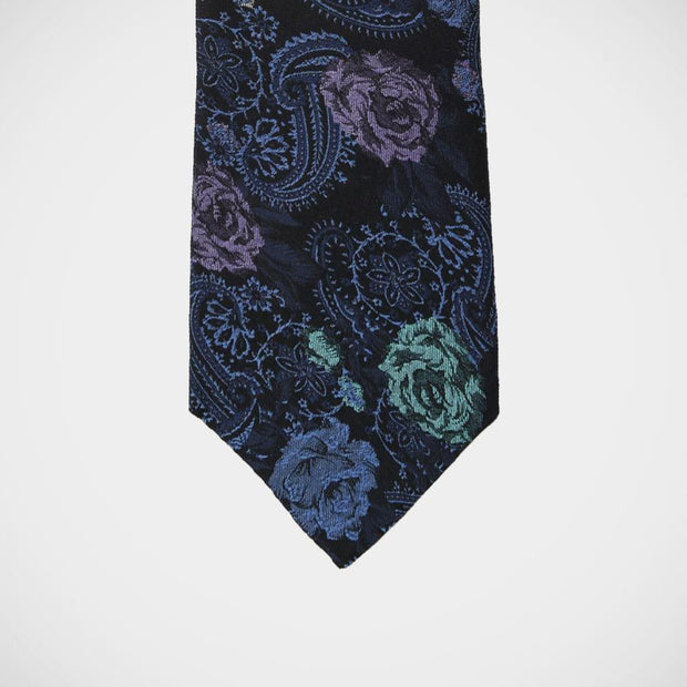 H. Halpern Esq. 'Teal Roses on Blue' Tie