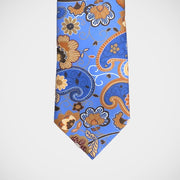 H. Halpern Esq. 'Brown Floral on Blue' Tie