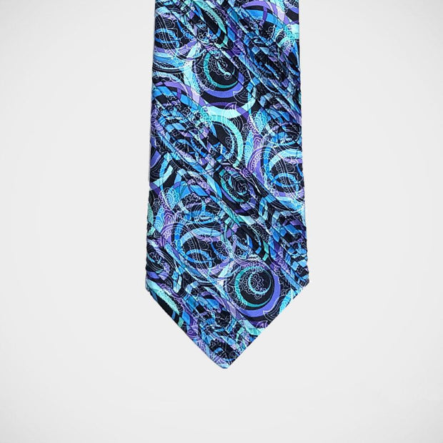 Vitaliano 'Pleated Swirls in Blue & Purple' Tie.