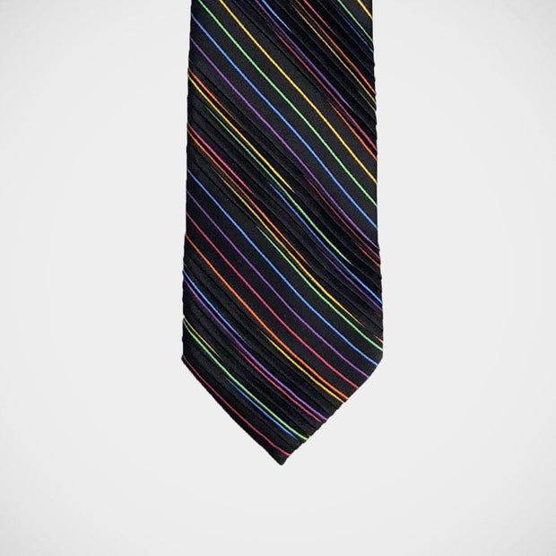 Vitaliano 'Pleated Rainbow on Black' Tie