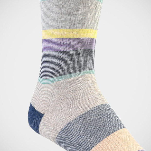 H. Halpern Esq. 'Multi-Stripe with Denim Toe' Socks