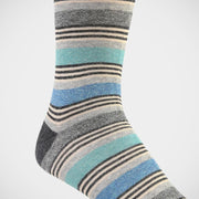 H. Halpern Esq. 'Heathered Stripe - Blue & Teal' Socks