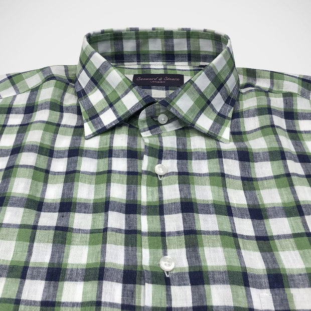 Seaward & Stearn London 'Bold Green Check' Linen Sport Shirt