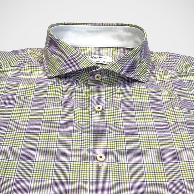 Stenstroms 'Purple & Green Check' Dress Shirt