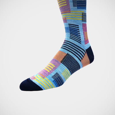 'Modern Abstract on Blue' Socks
