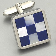 'Barrington Blue & White check' cufflinks