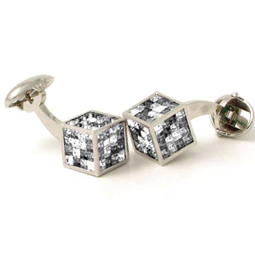 'Black & White Crystal Cube' Cufflinks