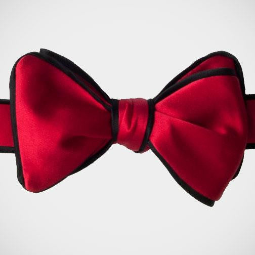 Dion 'Red with Black Piping' Tie-yourself Bowtie
