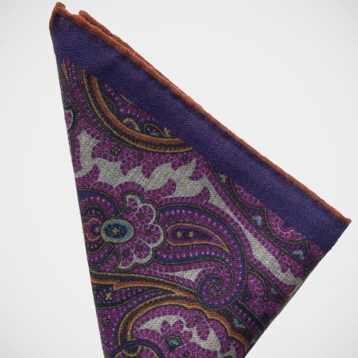 Dion 'Pink Paisley Wool' Pocket Square