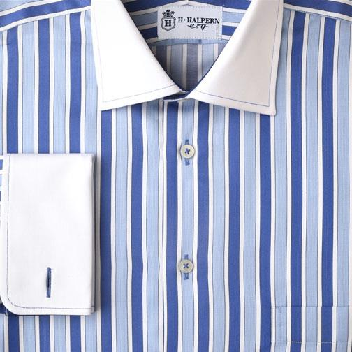 bold blue stripes dress shirt