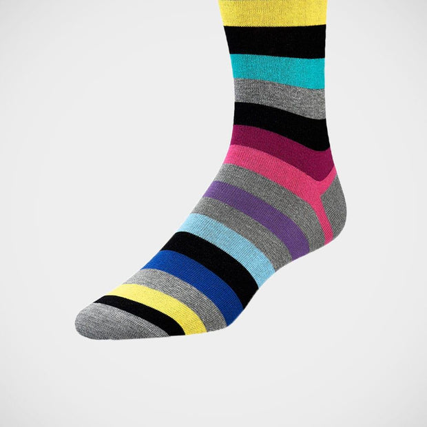 Bugatchi 'Wide Stripes on Grey' Socks