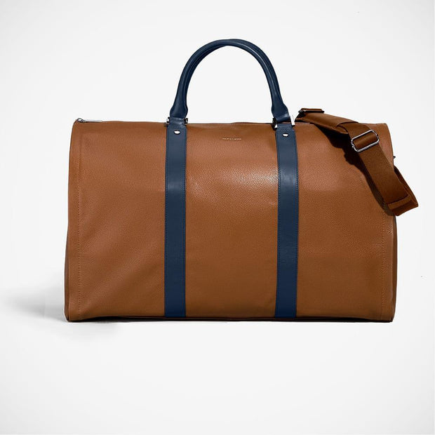 Hook + ALBERT 'Weekender - Cognac with Navy' Leather Bag