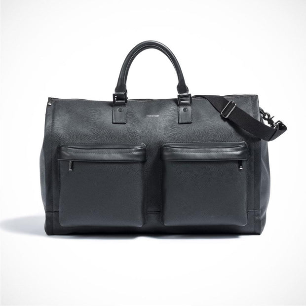 Hook + ALBERT 'Weekender - Black Leather 2 Pocket' Bag.