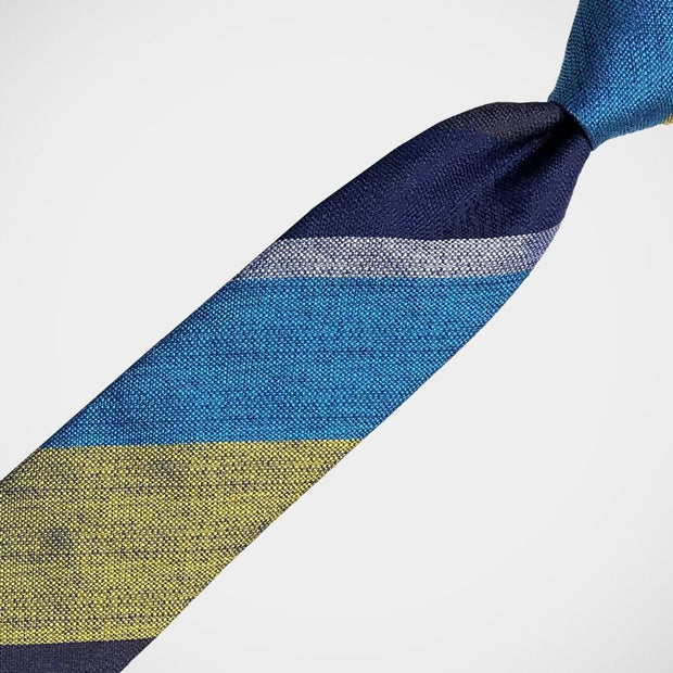 H. Halpern Esq. 'Bold Stripe in Blue, Turquoise and Yellow' Tie