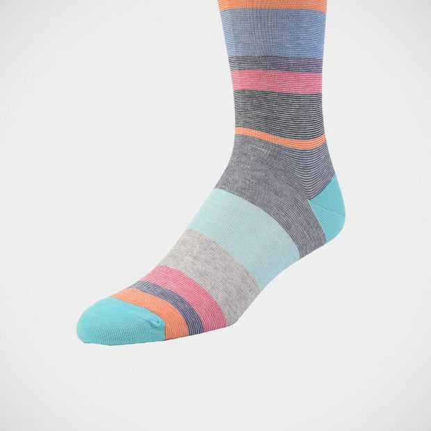H. Halpern Esq. 'Multi-Stripe with Turquoise Toe' Socks